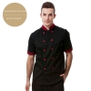 short sleeve wine(black collar)